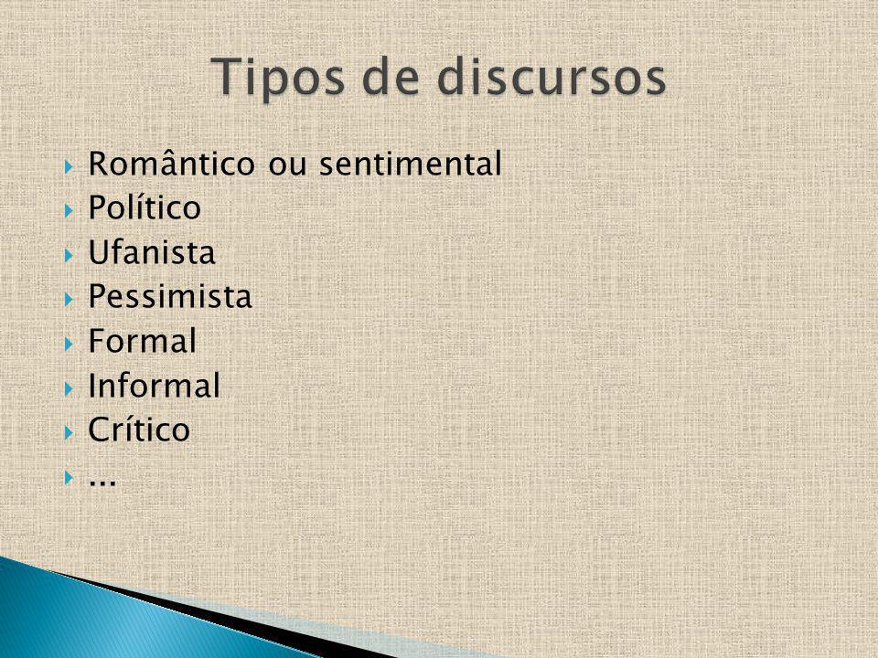 Tipos de discursos Romântico ou sentimental Político Ufanista