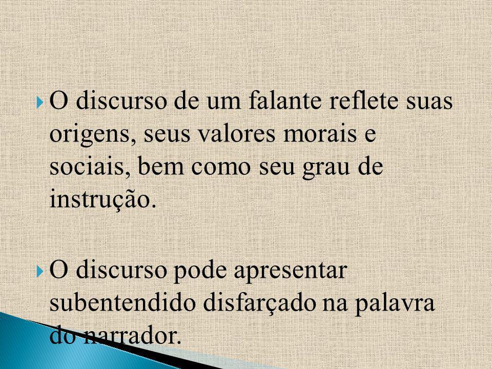 O discurso de um falante reflete suas origens, seus valores morais e sociais, bem como seu grau de instrução.