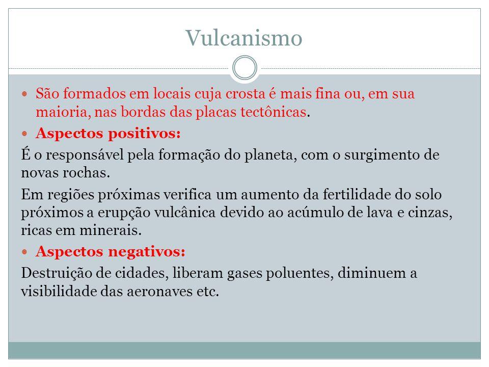 Vulcanismo São formados em locais cuja crosta é mais fina ou, em sua maioria, nas bordas das placas tectônicas.