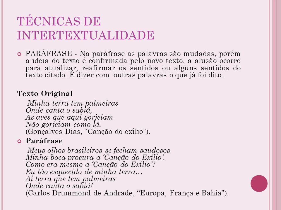 TÉCNICAS DE INTERTEXTUALIDADE