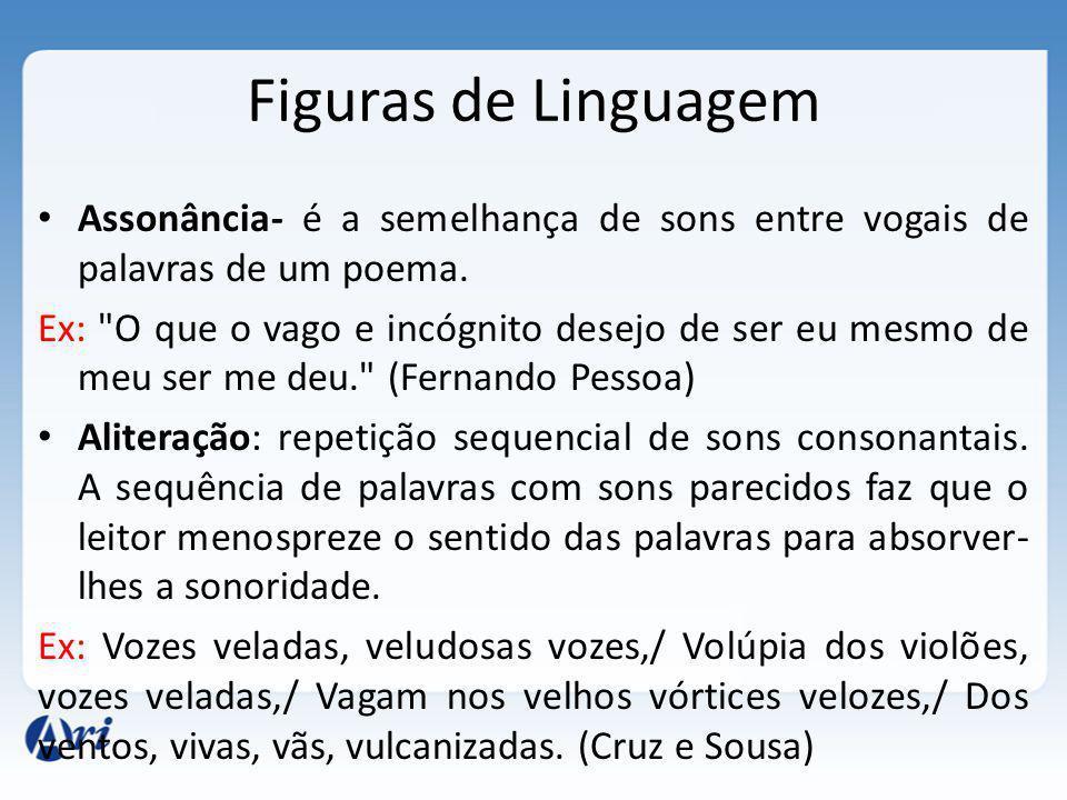 Figuras de Linguagem Assonância- é a semelhança de sons entre vogais de palavras de um poema.
