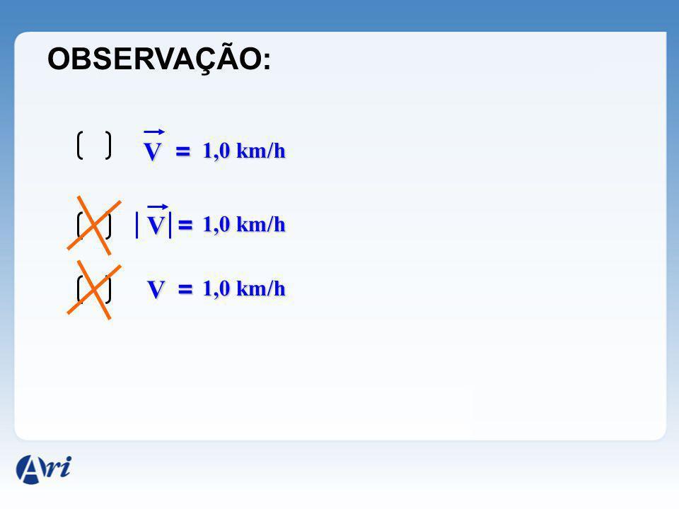 OBSERVAÇÃO: V = 1,0 km/h V = 1,0 km/h V = 1,0 km/h