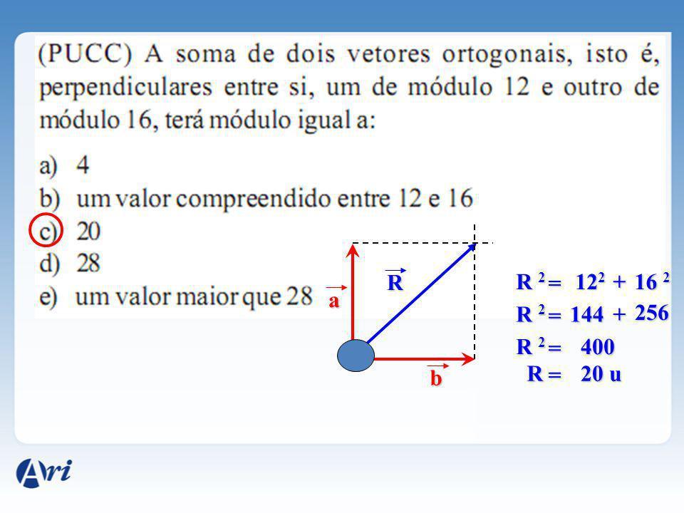 R R 2 = 122 + 16 2 a R 2 = 144 + 256 R 2 = 400 b R = 20 u