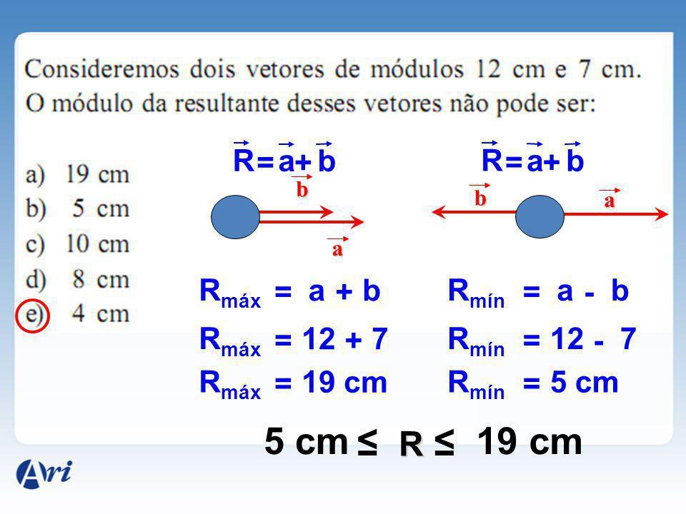 5 cm ≤ 19 cm ≤ R R = a + b R = a + b Rmáx = a + b Rmín = a - b Rmáx =