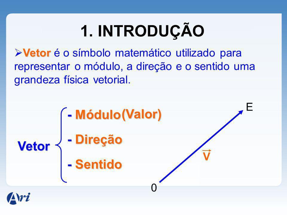1. INTRODUÇÃO - Módulo (Valor) - Direção Vetor - Sentido