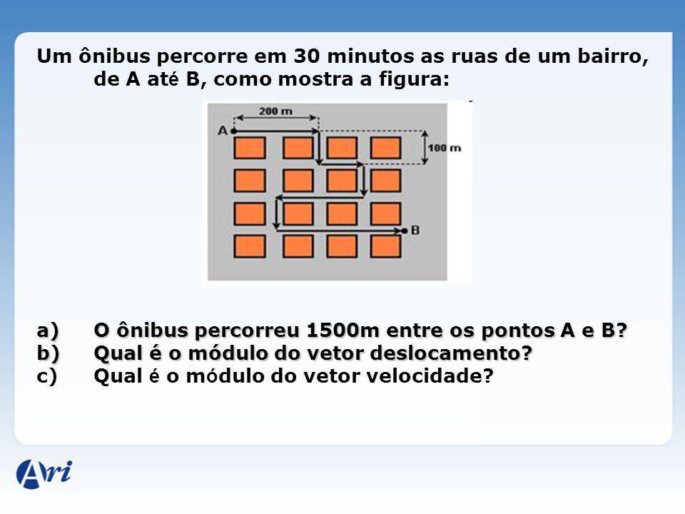 Um ônibus percorre em 30 minutos as ruas de um bairro, de A até B, como mostra a figura: