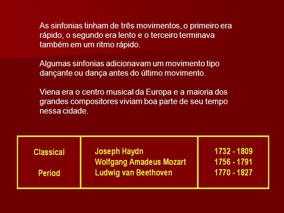 As sinfonias tinham de três movimentos, o primeiro era rápido, o segundo era lento e o terceiro terminava também em um ritmo rápido.