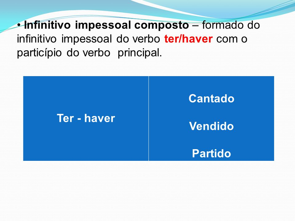 Infinitivo impessoal composto – formado do infinitivo impessoal do verbo ter/haver com o particípio do verbo principal.