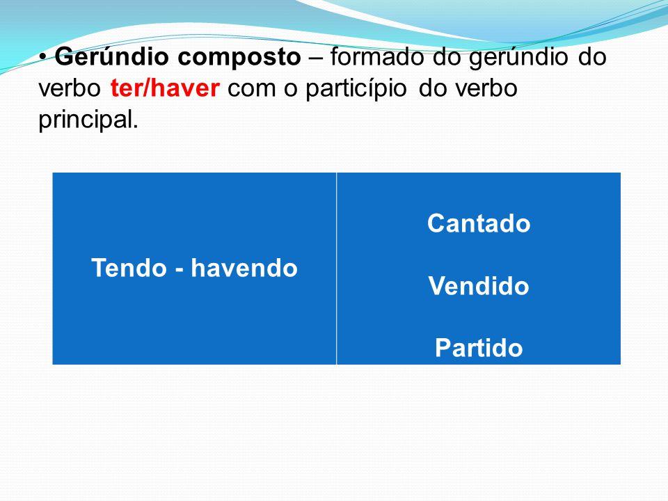 Gerúndio composto – formado do gerúndio do verbo ter/haver com o particípio do verbo principal.