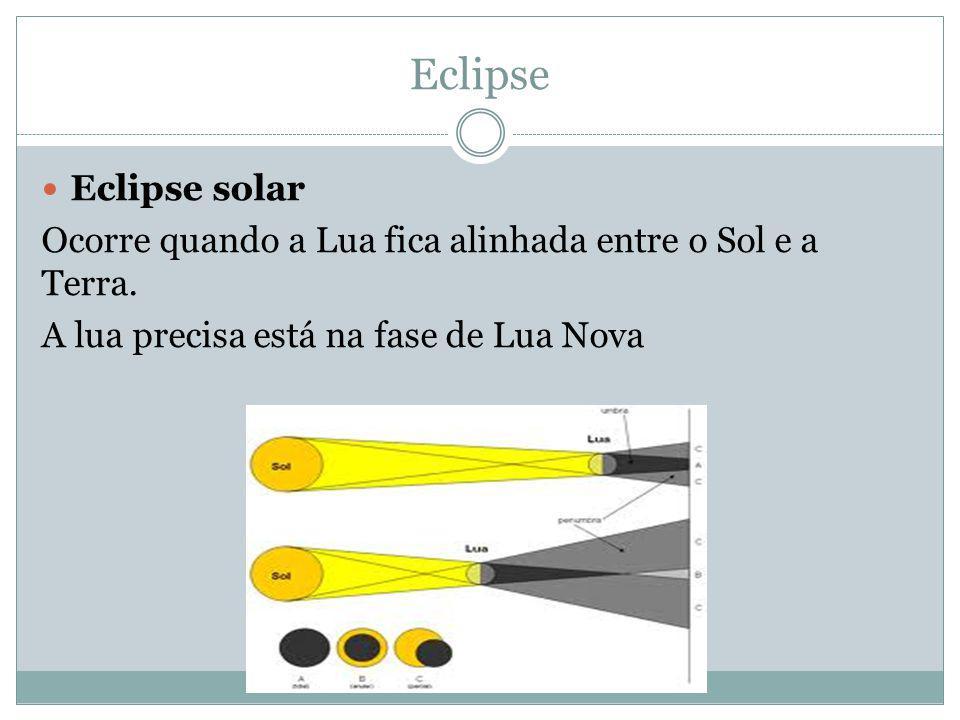 Eclipse Eclipse solar. Ocorre quando a Lua fica alinhada entre o Sol e a Terra.
