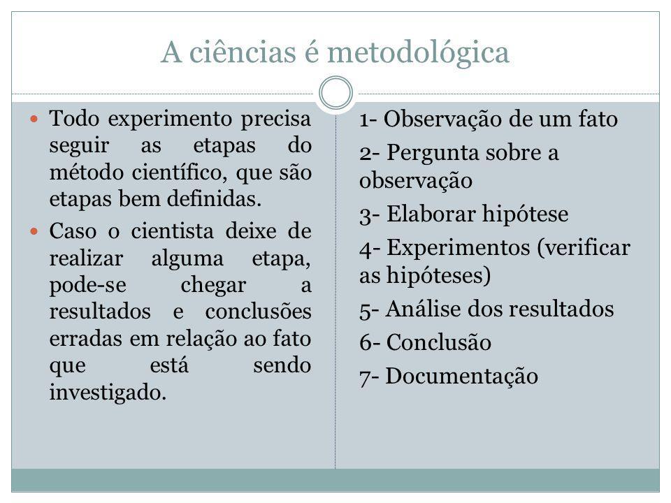 A ciências é metodológica