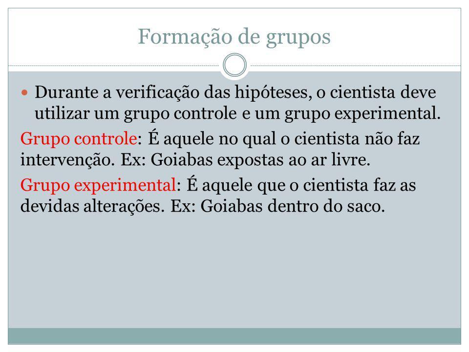 Formação de grupos Durante a verificação das hipóteses, o cientista deve utilizar um grupo controle e um grupo experimental.