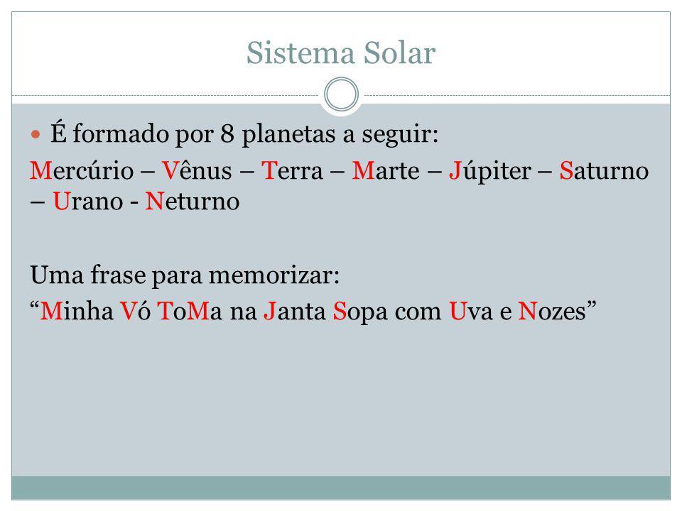 Sistema Solar É formado por 8 planetas a seguir: