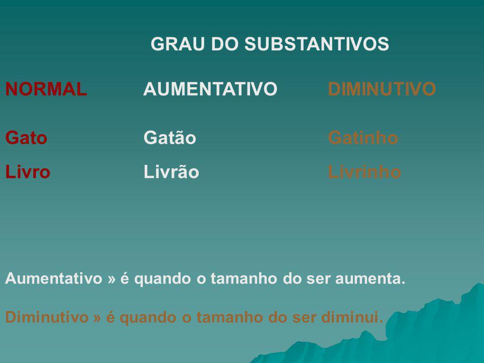 NORMAL AUMENTATIVO DIMINUTIVO Gato Gatão Gatinho Livro Livrão Livrinho
