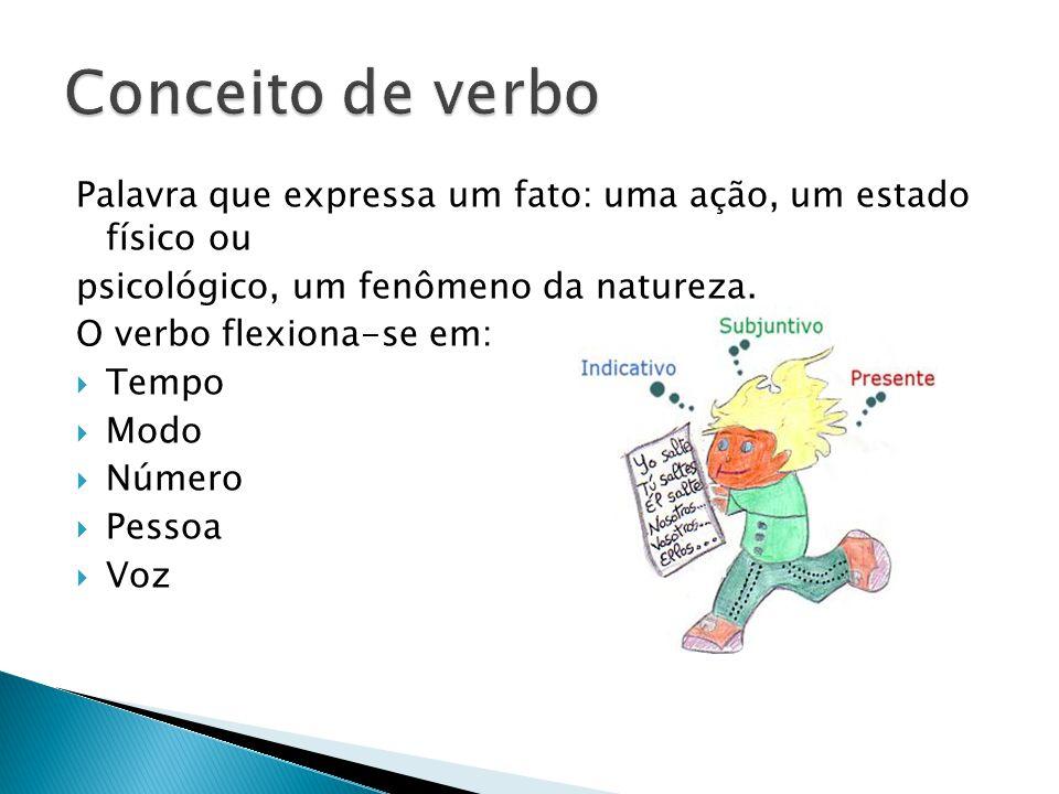 Conceito de verbo Palavra que expressa um fato: uma ação, um estado físico ou. psicológico, um fenômeno da natureza.