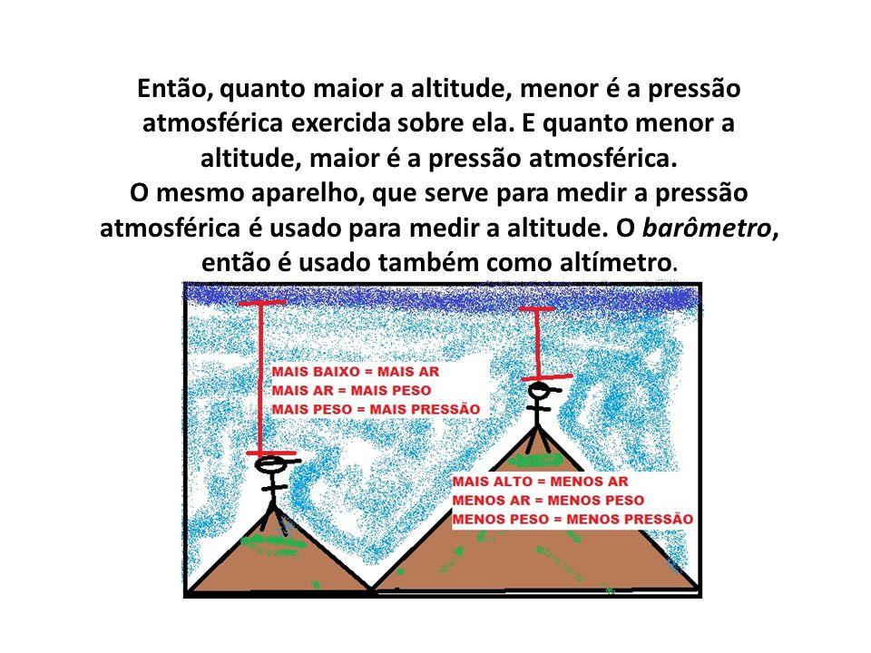Então, quanto maior a altitude, menor é a pressão atmosférica exercida sobre ela.