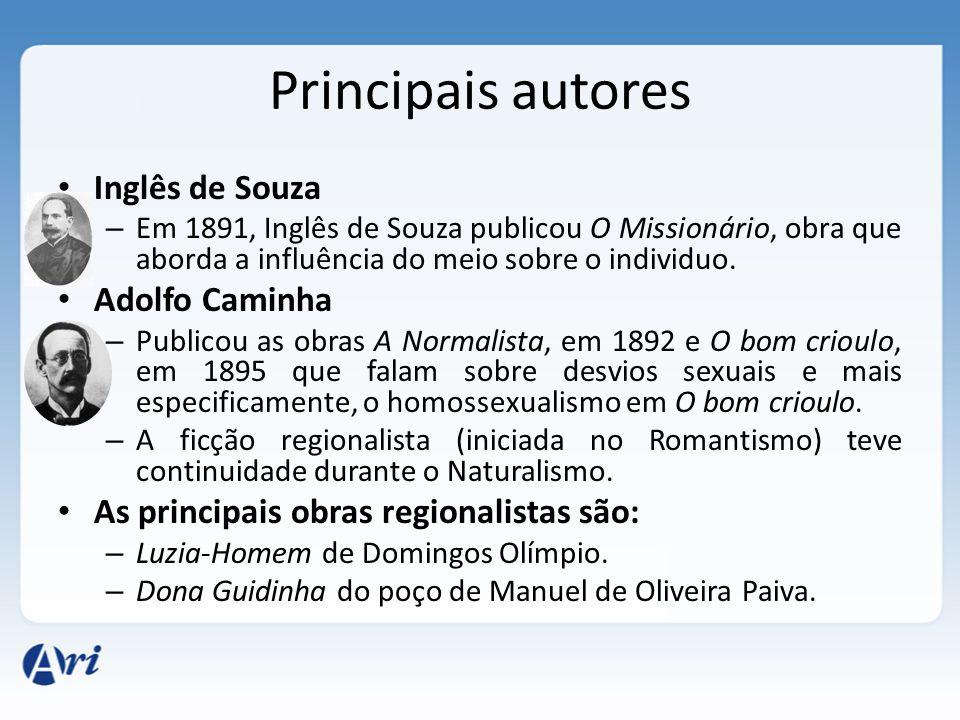 Principais autores Inglês de Souza Adolfo Caminha