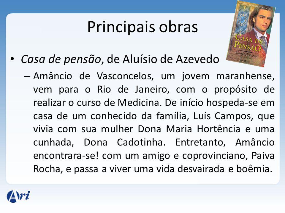 Principais obras Casa de pensão, de Aluísio de Azevedo