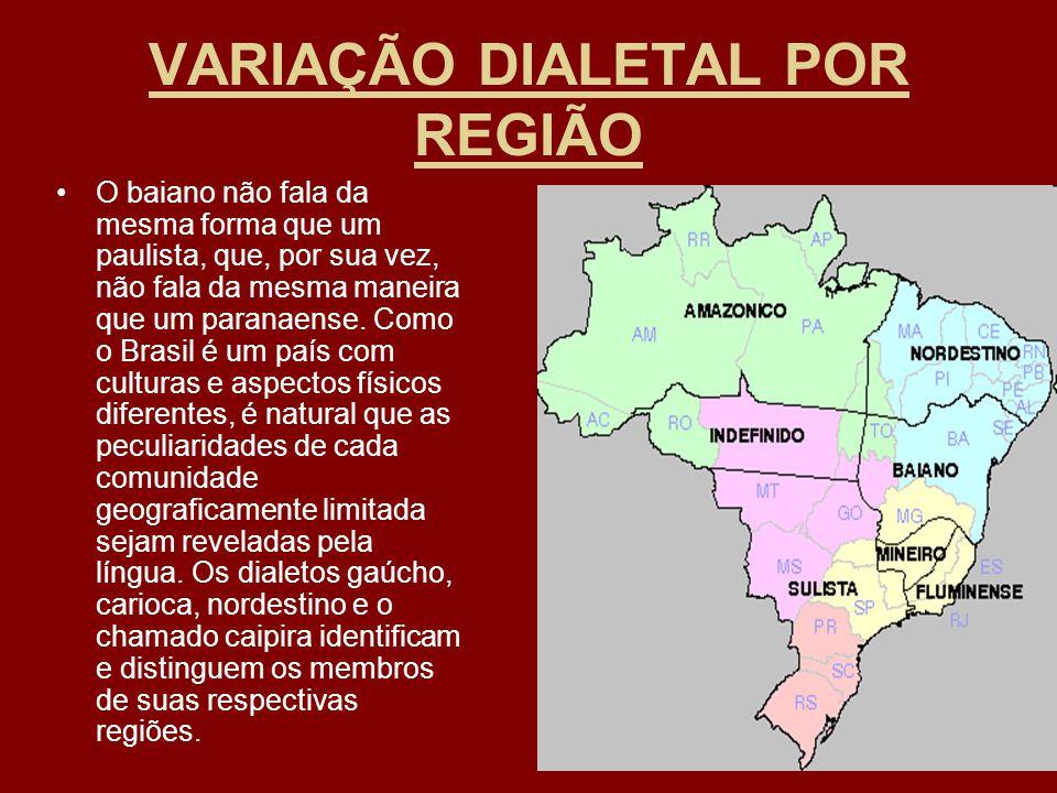 VARIAÇÃO DIALETAL POR REGIÃO