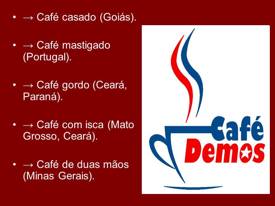 → Café casado (Goiás). → Café mastigado (Portugal). → Café gordo (Ceará, Paraná). → Café com isca (Mato Grosso, Ceará).