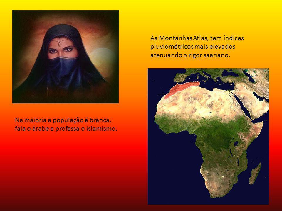 As Montanhas Atlas, tem índices pluviométricos mais elevados atenuando o rigor saariano.