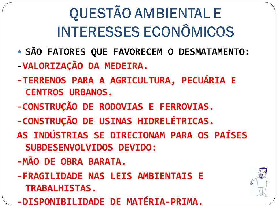 QUESTÃO AMBIENTAL E INTERESSES ECONÔMICOS