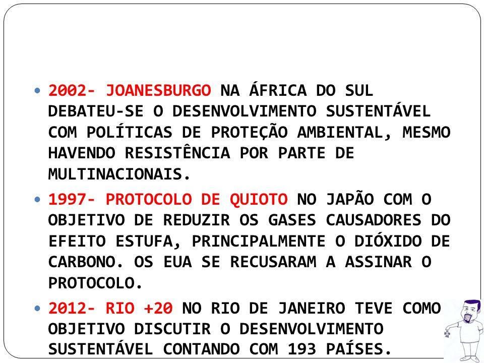 2002- JOANESBURGO NA ÁFRICA DO SUL DEBATEU-SE O DESENVOLVIMENTO SUSTENTÁVEL COM POLÍTICAS DE PROTEÇÃO AMBIENTAL, MESMO HAVENDO RESISTÊNCIA POR PARTE DE MULTINACIONAIS.