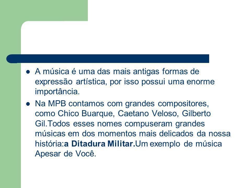 A música é uma das mais antigas formas de expressão artística, por isso possui uma enorme importância.