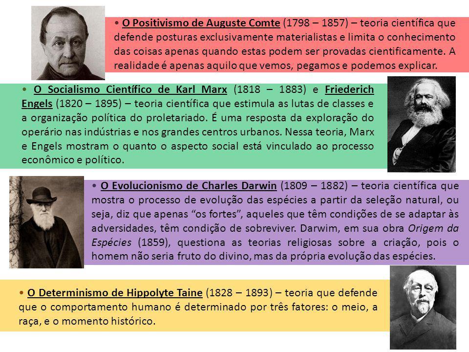 • O Positivismo de Auguste Comte (1798 – 1857) – teoria científica que defende posturas exclusivamente materialistas e limita o conhecimento das coisas apenas quando estas podem ser provadas cientificamente. A realidade é apenas aquilo que vemos, pegamos e podemos explicar.