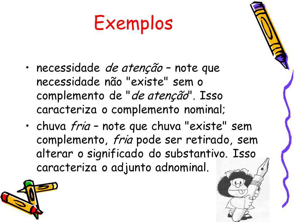 Exemplos necessidade de atenção – note que necessidade não existe sem o complemento de de atenção . Isso caracteriza o complemento nominal;