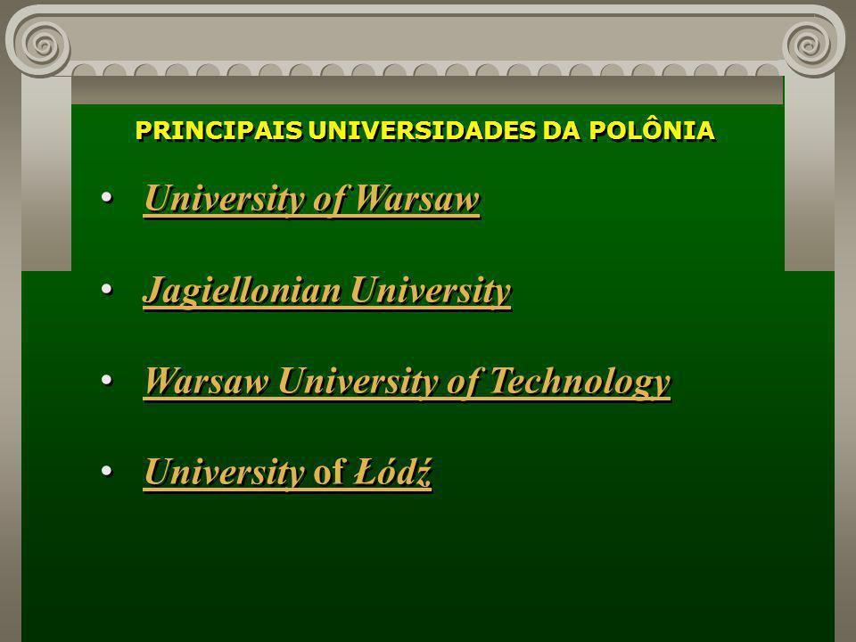 PRINCIPAIS UNIVERSIDADES DA POLÔNIA