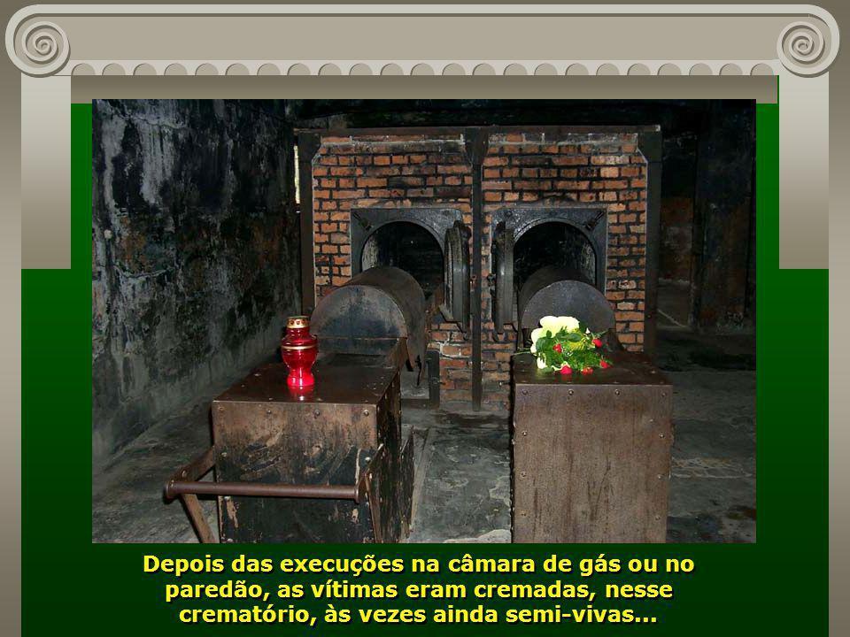 Depois das execuções na câmara de gás ou no paredão, as vítimas eram cremadas, nesse crematório, às vezes ainda semi-vivas...