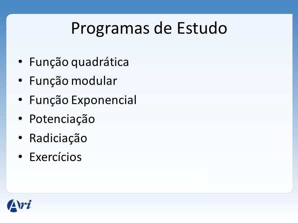 Programas de Estudo Função quadrática Função modular