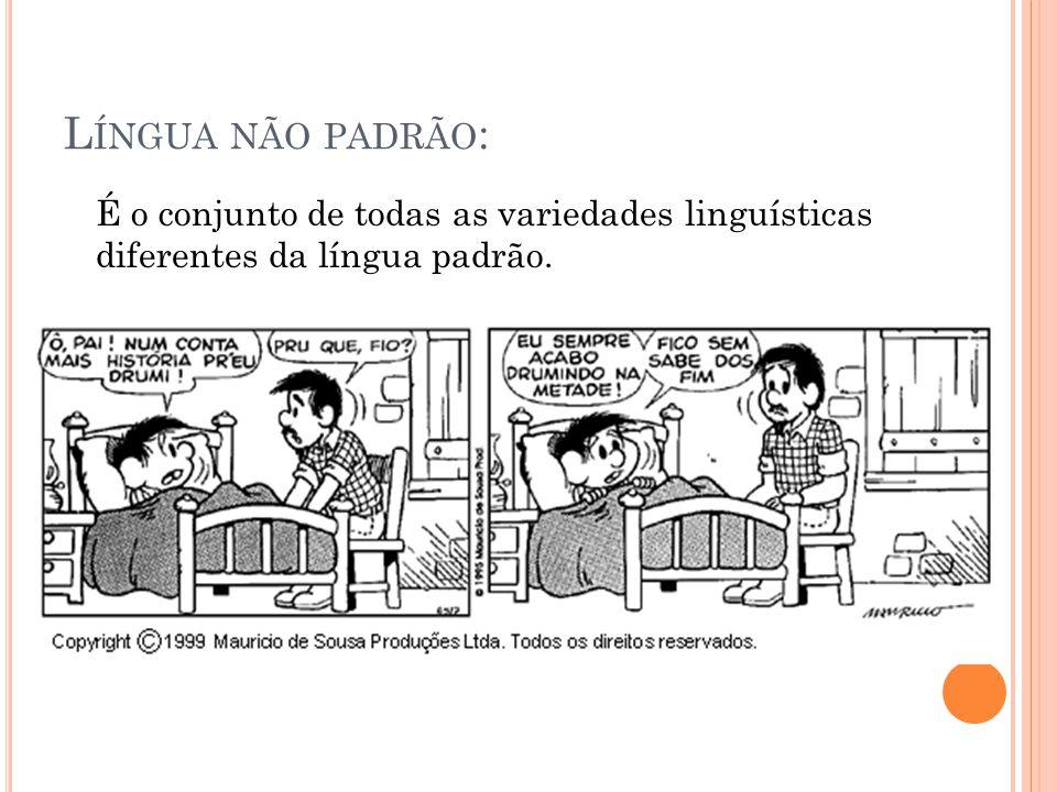 Língua não padrão: É o conjunto de todas as variedades linguísticas diferentes da língua padrão.
