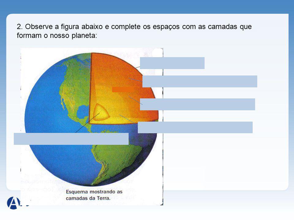 2. Observe a figura abaixo e complete os espaços com as camadas que formam o nosso planeta: