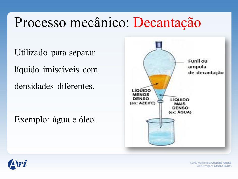 Processo mecânico: Decantação