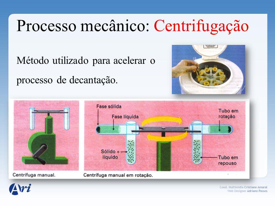 Processo mecânico: Centrifugação