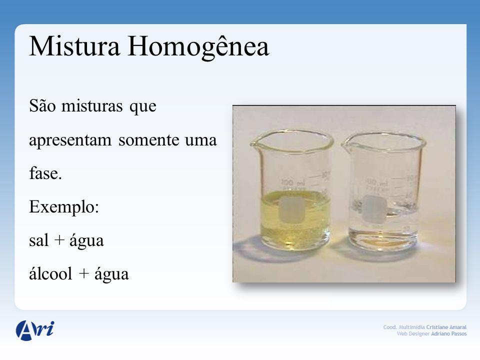 Mistura Homogênea São misturas que apresentam somente uma fase. Exemplo: sal + água álcool + água