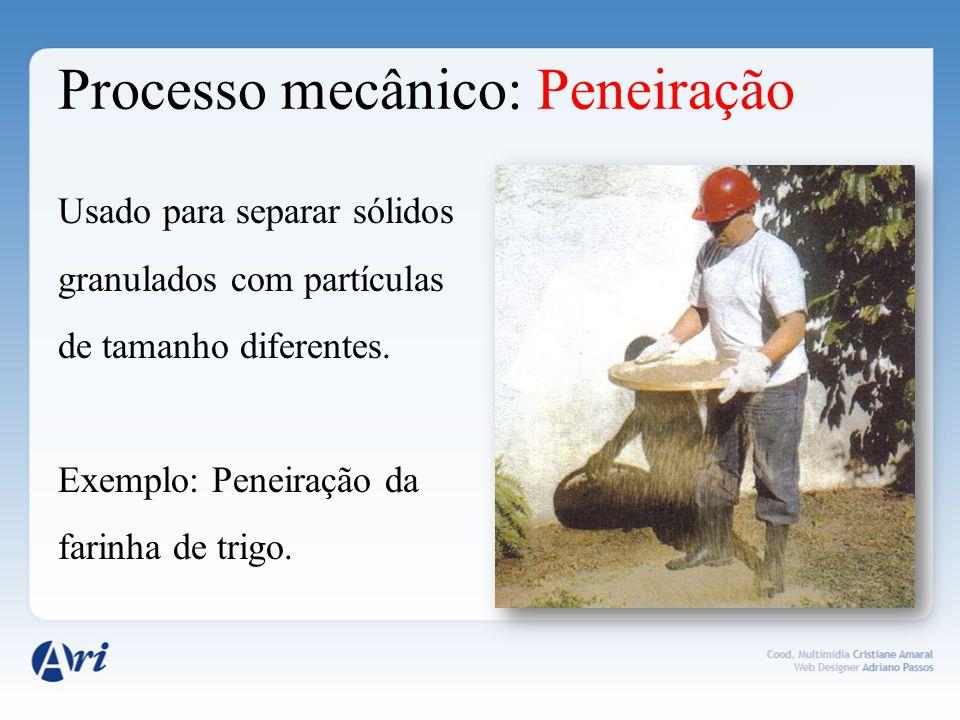Processo mecânico: Peneiração