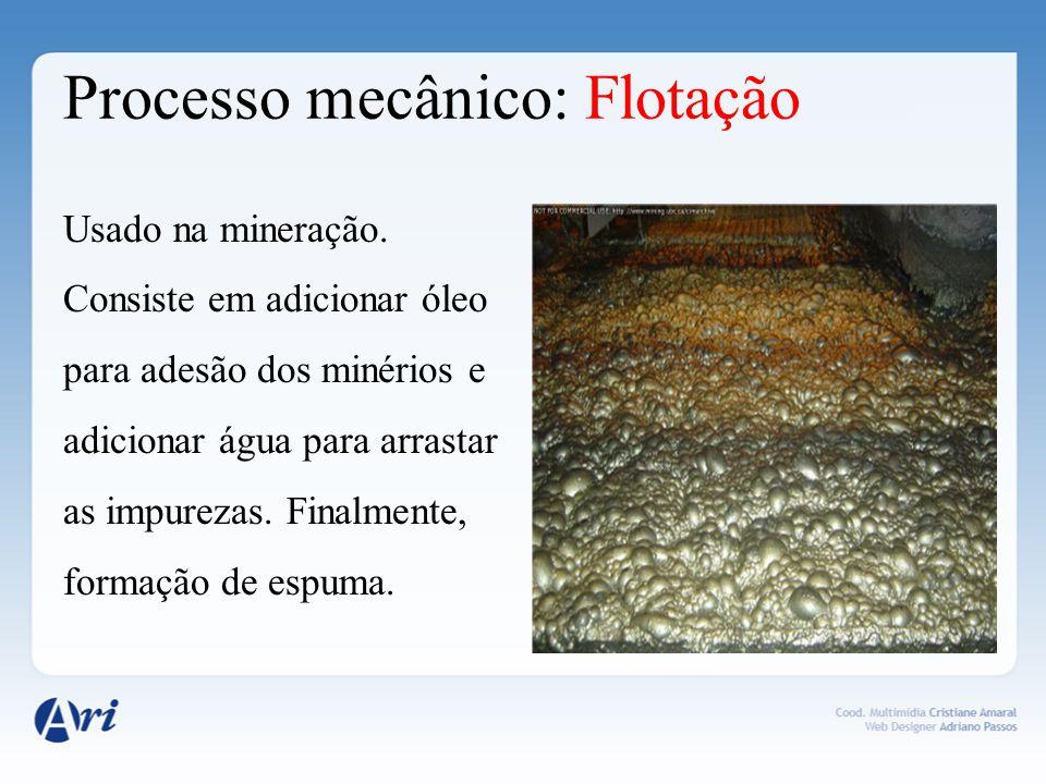 Processo mecânico: Flotação