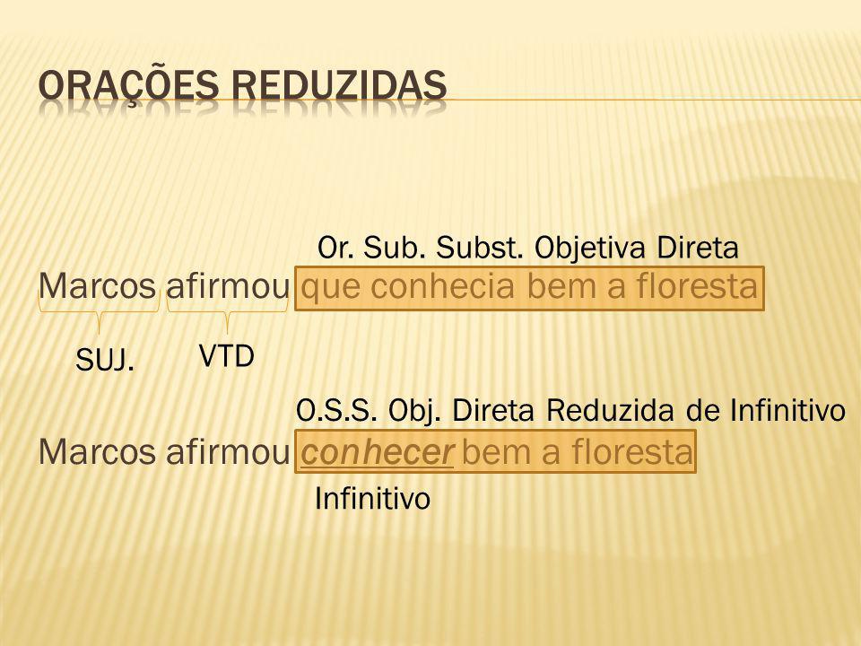 ORAÇÕES REDUZIDAS Marcos afirmou que conhecia bem a floresta Marcos afirmou conhecer bem a floresta