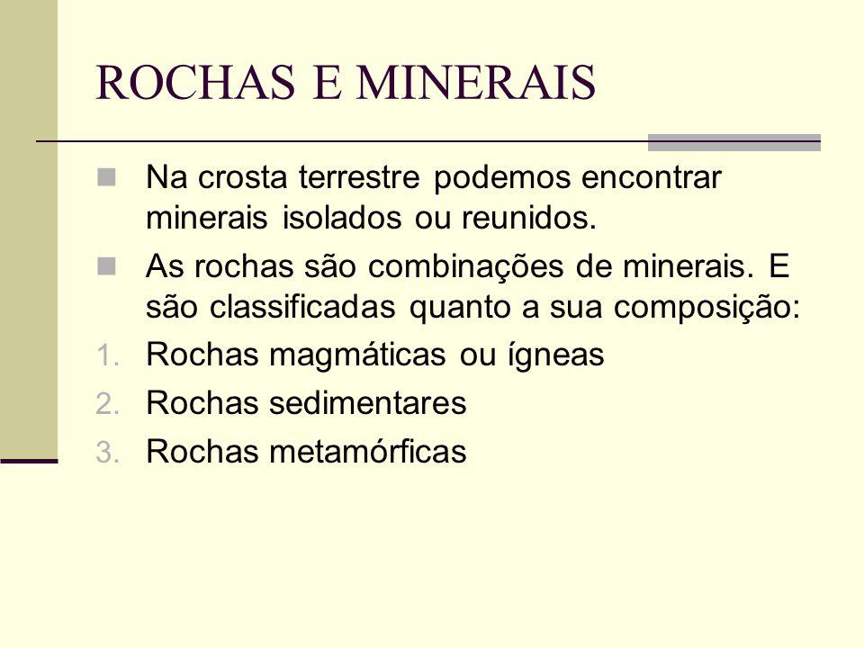 ROCHAS E MINERAIS Na crosta terrestre podemos encontrar minerais isolados ou reunidos.