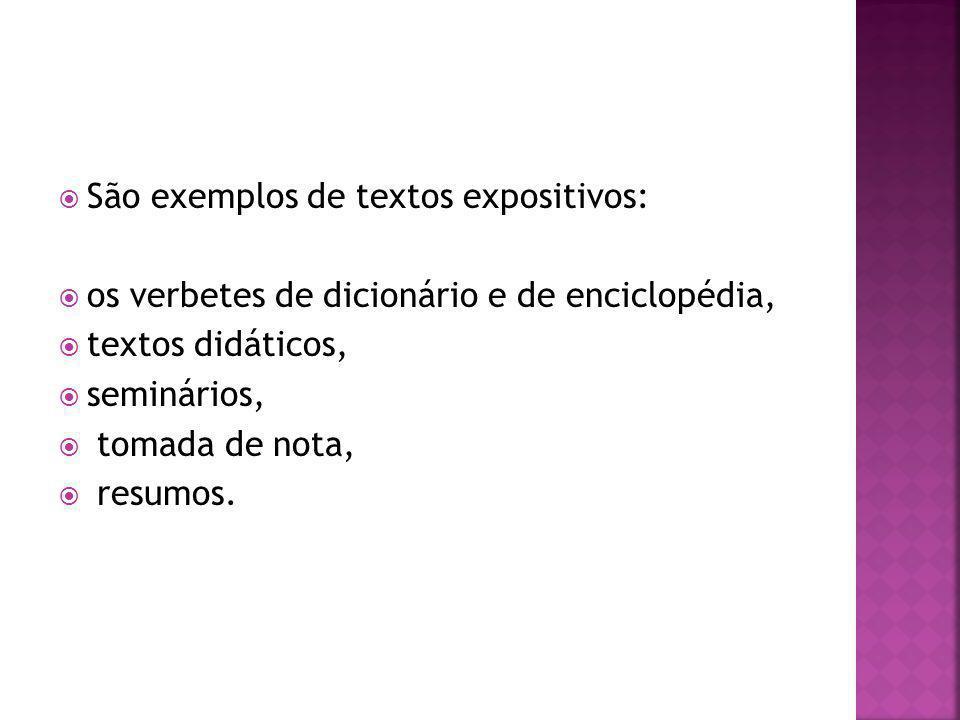 São exemplos de textos expositivos: