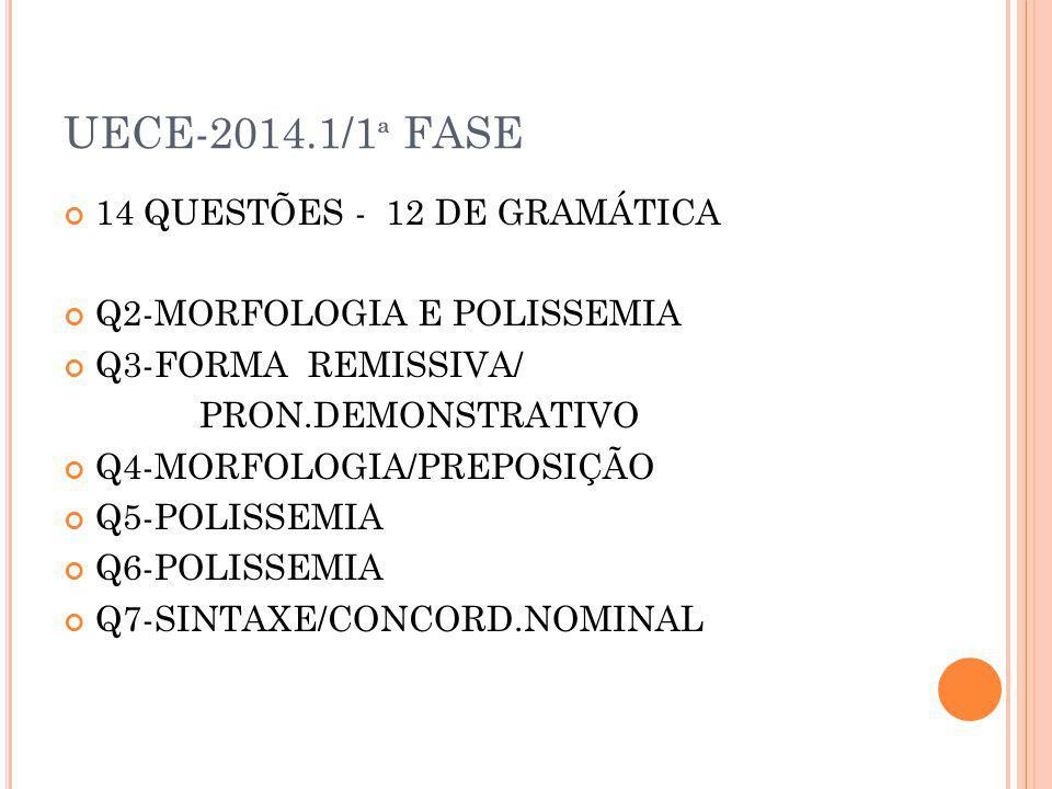 UECE-2014.1/1ª FASE 14 QUESTÕES - 12 DE GRAMÁTICA