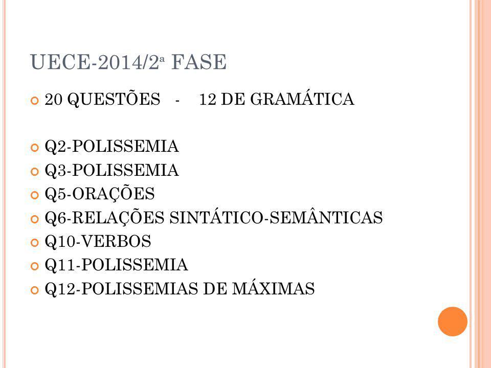 UECE-2014/2ª FASE 20 QUESTÕES - 12 DE GRAMÁTICA Q2-POLISSEMIA