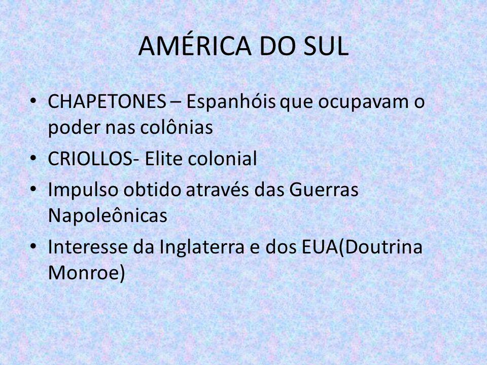 AMÉRICA DO SUL CHAPETONES – Espanhóis que ocupavam o poder nas colônias. CRIOLLOS- Elite colonial.