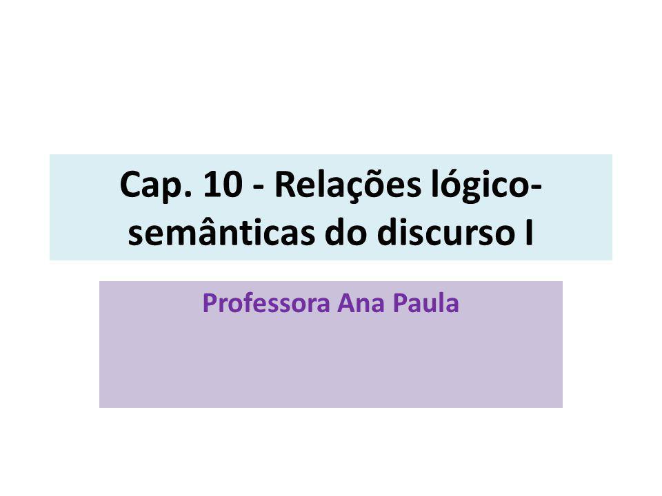 Cap. 10 - Relações lógico-semânticas do discurso I