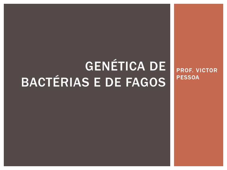 GENÉTICA DE BACTÉRIAS E DE FAGOS