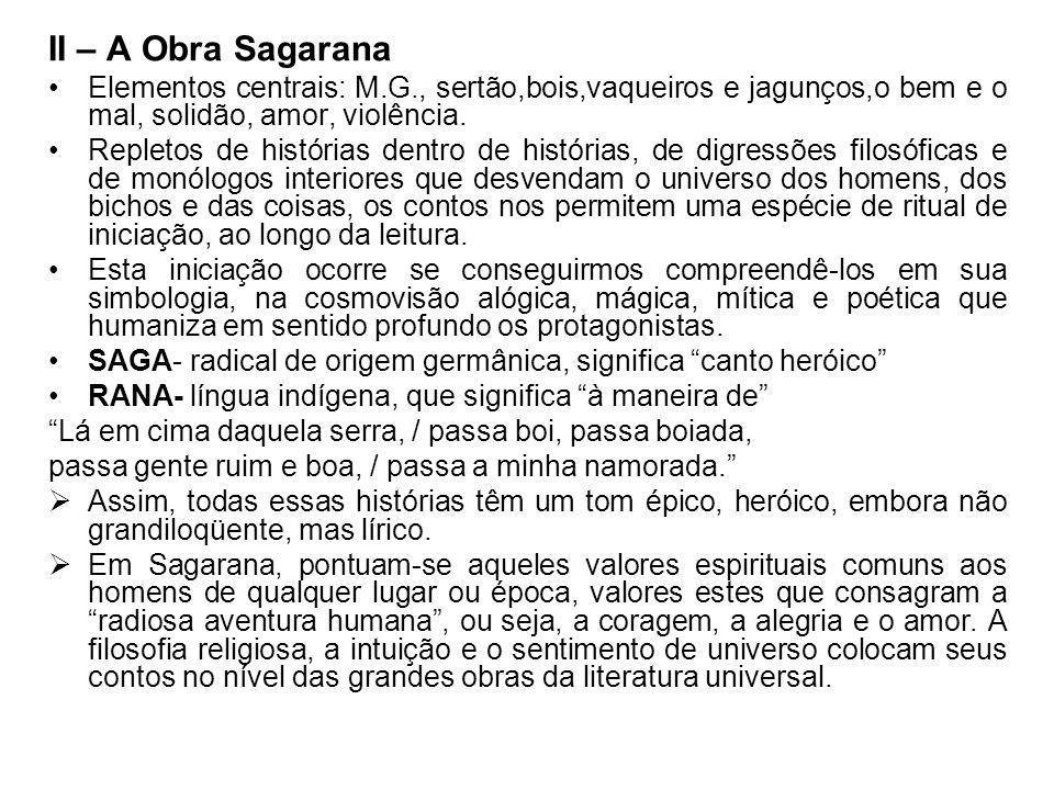 II – A Obra Sagarana Elementos centrais: M.G., sertão,bois,vaqueiros e jagunços,o bem e o mal, solidão, amor, violência.
