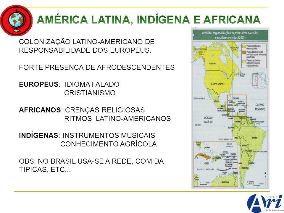 AMÉRICA LATINA, INDÍGENA E AFRICANA